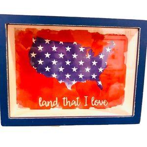 American Map Box Sign Motivational Patriotic Art